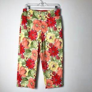 Talbots petites women's floral print Capri pants